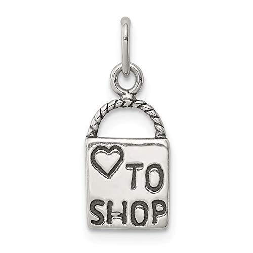 925 Sterling Silver Love To Shop Pendant Charm Necklace Talking Fine Jewelry Gifts For Women For Her