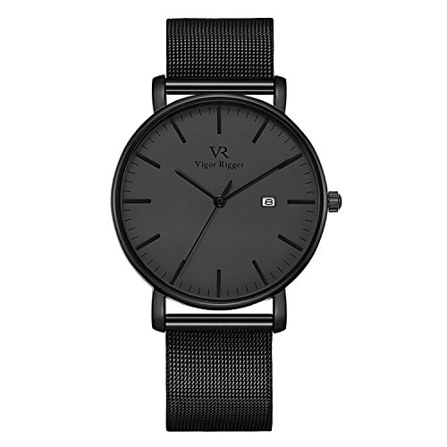 Vigor Rigger Men's Quartz Watches, Minimalist Analog Date Display Wrist Watch with Black Milanese Mesh Stainless Steel Band, 30M Waterproof Watch with Metal Case-3. (Watch Metal Black Square)
