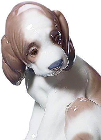 LLADR Gentle Surprise Dog Figurine. Porcelain Puppy Figure.