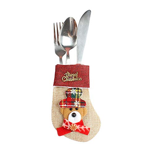 Pausseo Creative Knife and Fork Decorative Socks Candy Gift Party Bag Christmas Stockings Tree Ornaments Xmas Snowman Door Hanging Decoration Toy Doll Pendant DIY Home Decor ()