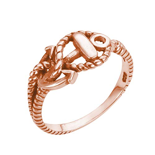 CloseoutWarehouse Rose Gold-Tone Plated Sterling Silver Anchor of Hope Ring Size 8