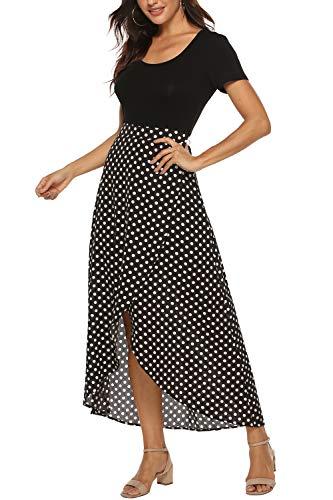 Zattcas Womens Floral Chiffon Wrap Split Maxi Dress Short Sleeve Long Summer Dress
