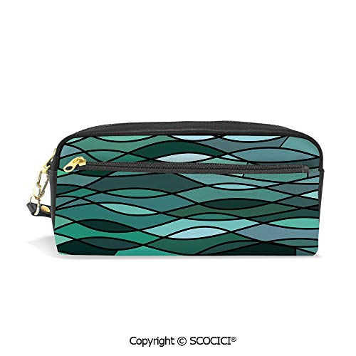 Girls Boys 3D Printed PU Pencil Case Holders Bag with Zipper Abstract Mosaic Waves Ocean Inspired Expressionist Pattern Marine Design Image Decorative Stationery Makeup Cosmetic Bags Back to School ()