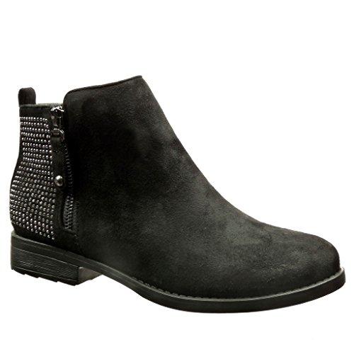 Angkorly - damen Schuhe Stiefeletten - Reitstiefel - Kavalier - Strass - Reißverschluss Blockabsatz 2.5 CM - Silber