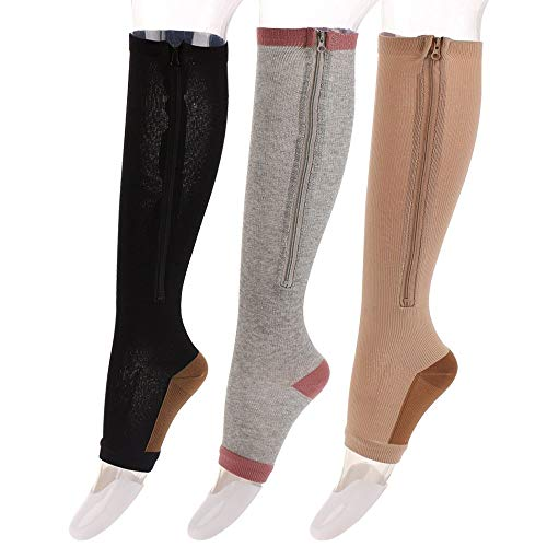 3 Pairs Compression Socks for Women and Men Easy on Zip Socking Designed for Running, Shin Splints, Athletic, Medical, Flights Travel, Pregnancy