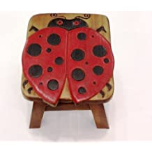 Ladybug Hand Carved And Hand Painted Wooden Foot Stool By In The Garden And  More