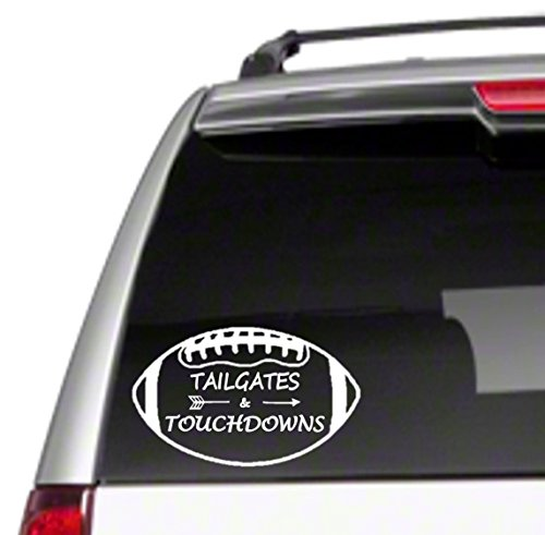 Tailgates & Touchdowns Car Sticker Decal football game day pads quarterback field *B42*