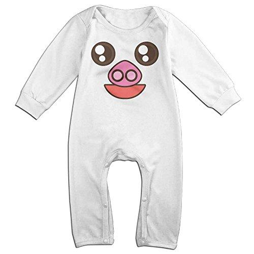 Tongbu Pig Cartoon Face Baby's Bodysuit Climb Clothes Boy & Girl Soft Cotton Long Sleeve Romper Jumpsuit 18 MonthsWhite