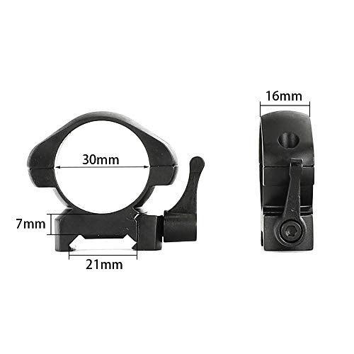ohhunt Steel Scope Rings 30mm Quick Release Scope Mounts 20mm Picatinny Weaver 2 Pcs (7mm Medium Profile)