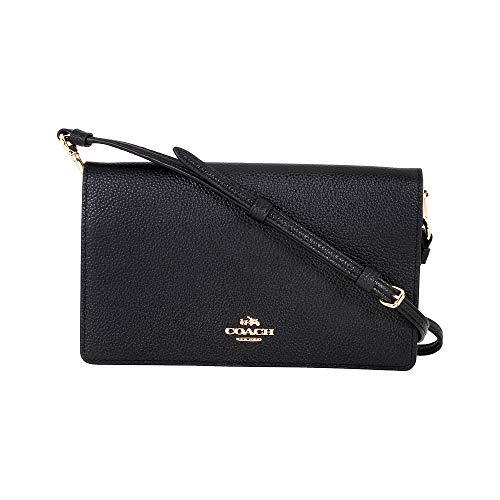 COACH Women's Polished Pebbled Leather Fold-Over Crossbody Li/Black One Size -