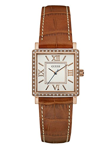 GUESS Tan and Rose Gold-Tone Square Watch (Crocodile Square Watch)