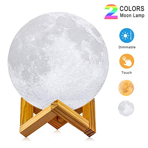Moon Lamp, 3D Printing LED Night Light Lunar Moon Light with Stand and Warm & Cool Two Colors and Dimmable & USB Rechargeable for Baby Kids Lover Birthday Christmas Gifts(Diameter 4.7 inch)