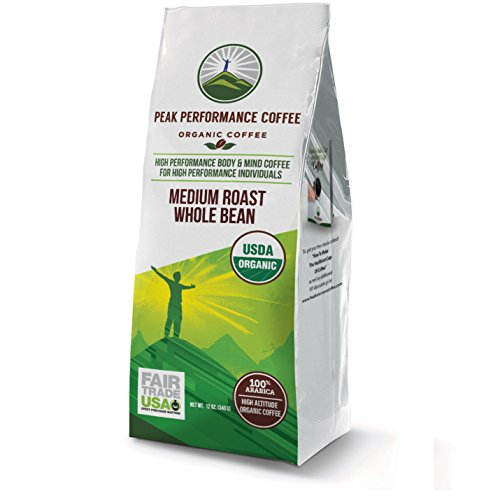 Peak Performance High Altitude Organic Coffee. No Pesticides, Fair Trade, Non GMO, And Beans Full Of Antioxidants! Medium Roast Low Acid Smooth Tasting USDA Certified Organic Whole Bean Coffee Bag