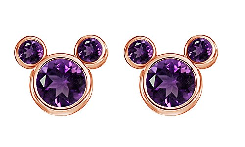 February Birthstone Amethyst Mickey Mouse Stud Earrings In 14k Rose God Over Sterling Silver