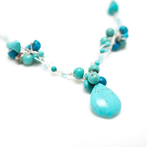 "Handmade Natural Multi-Colored Gemstones Beads Silk Thread Cluster Women Necklace 17""-19"""