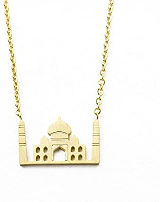 World Landmark Icons Necklace Taj Mahal Necklace Pendant Charm Souvenir