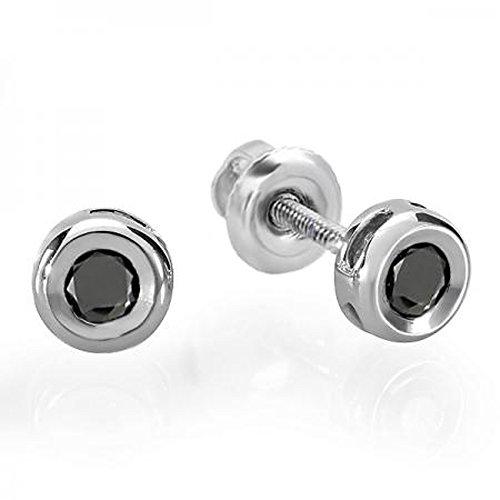 Bezel Ear Piercing Studs Earrings - 0.15 Carat (ctw) 14K White Gold Round Cut Black Diamond Bezel Stud Earrings