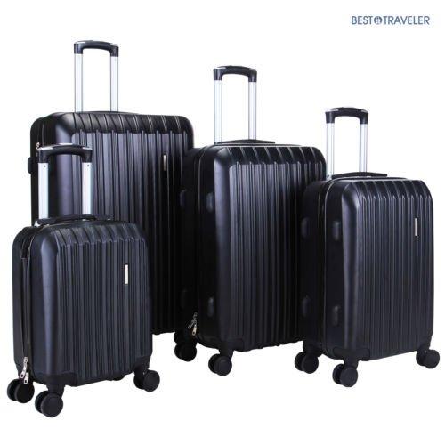 20' Trolley Bag - 4Pcs Luggage Travel Set Bag ABS Trolley Spinner Carry On Suitcase TSA Lock Black