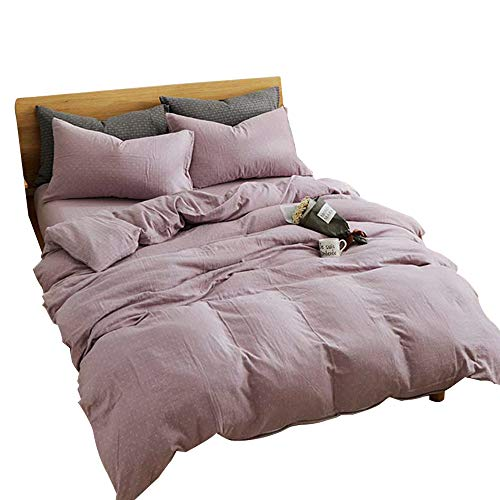 MKXI Simple Bedroom Collection 3 Pieces Bedding Pinkish-Purple King Size Duvet Cover Set,Cross Printed