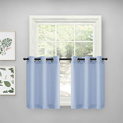 Short Window Tiers Curtains for Kitchen Casual Weave Privacy