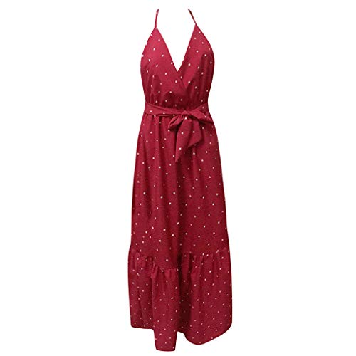 Women Sleeveless Long Dress Sexy Spaghetti Strap Sashes Backless Dot Printed V Neck Beach Party Maxi Ruffle Sundress