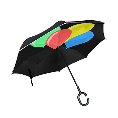 YUMOING Double Layer Inverted Feast Balloons Color Games Flight Fly Freedom Umbrellas Reverse Folding Umbrella Windproof Uv Protection Big Straight Umbrella For Car Rain Outdoor With C-shaped Handle by YUMOING