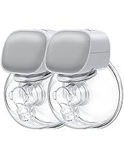 Momcozy Bomba de mama doble portátil, con bajo ruido y manos libres, bomba de leche eléctrica doble portátil, a prueba de derrames, ultra silenciosa, sin dolor, con 2 modos y 5 niveles, gris claro