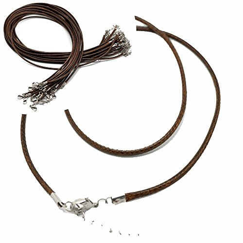 Prudance Braided Leather Cord Rope Necklace Chains   20 Piece Set   Lobster Claw Clasp   50Cm Long   1 5Mm Thick Brown