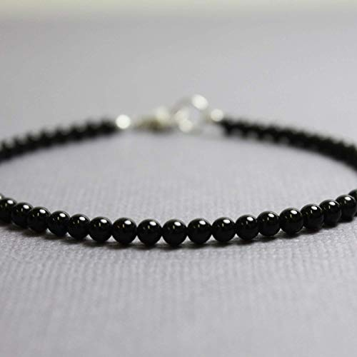 Beaded Onyx - Black Onyx Bracelet, Small 3mm Beads, Adjustable 7 to 8 Inches
