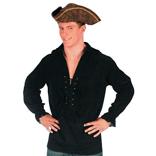 Fun World Men's Morris Costumes Shirt Fancy Black Pirate, One Size -