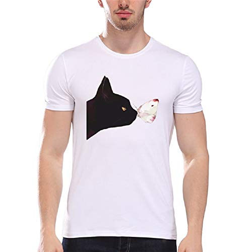 Men Summer Fashion Short Sleeve Crew T Shirt Cartoon Printing Shirt Cat Printed Tees by Lowprofile Black