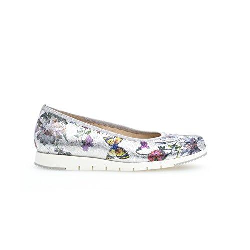 Metálico Zapatos Mujer Print Silver De Floral Gabor Flower Linea EqgzAS