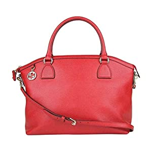 Gucci Women's GG Charm Red Leather Large Convertible Dome Bag With Detachabel Strap 449660 6420