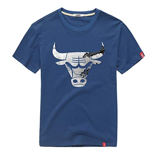 Sky bluee 2XL YAXIAO TShirt Men's Bulls Print Summer Cotton Basketball ShortSleeved Youth Half Sleeve TShirt (color   White, Size   XL)