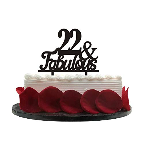 22&Fabulous Birthday Cake Topper | 22nd Party Decoration Ideas | Wedding, Birthday, Anniversary, Party Supplies Topper Decoration | Classical Black Acrylic -