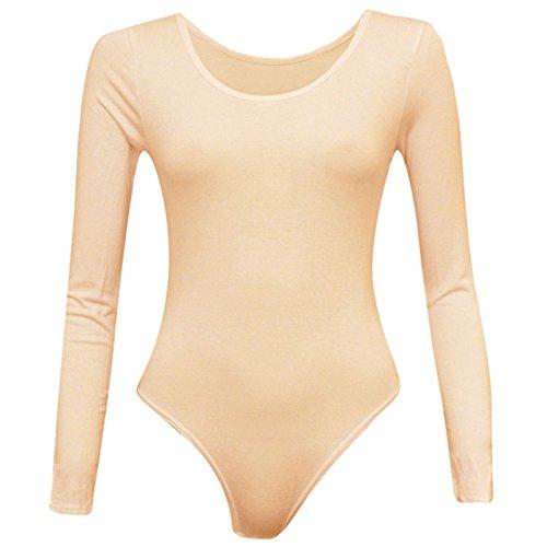 Rimi Hanger Women Long Sleeve Scoop Neck Leotard Plain Stretch Bodysuit Nude - Plain Hanger