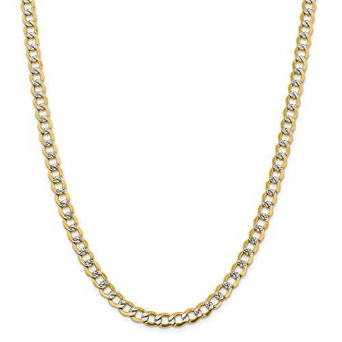 14k Yellow Gold And Rhodium Plated 6.75mm Semi Solid Curb Chain Necklace 16inch 14k Yellow Gold Rhodium Plated