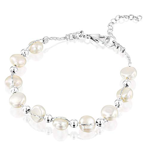 Interwoven Cultured White Pearls and Sterling Beads Silver Bracelet 7.3