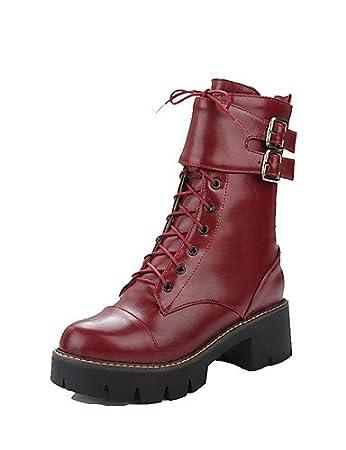 Women's Solid Kitten-Heels Round Closed Toe PU Zipper Boots with Metal