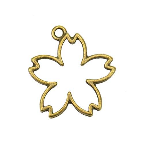 JETEHO 40 Pcs Cherry Blossom Flower Resin Frame Open Back Bezel Pendant Blanks for Jewelry Making ()