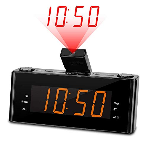 LEETAC Projection Alarm Clock Radio - Digital Alarm Clock with Projection and FM Radio, 7