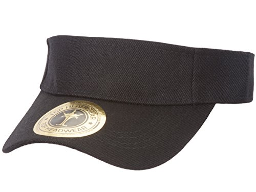 TOP HEADWEAR Solid Adjustable Blank Visor, Black