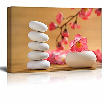 Canvas Prints Wall Art - Zen Stones with Cherry Blossom Branch | Modern Wall Decor/Home Decoration Stretched Gallery Canvas Wrap Giclee Print. Ready to Hang - 32