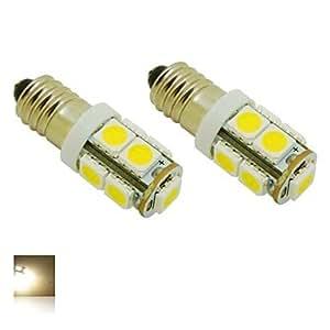 E10 2W 9X5050 SMD 3000K calienta el bulbo de las luces blancas de luz LED para DIY (DC 12V, paquete de 2)