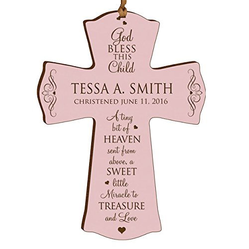 LifeSong Milestones Personalized Baptism 1st Holy Communion Christening Gifts Custom Wall Cross Decoration God Bless This Child a Tiny Bit of Heaven Sent from Above (4.5