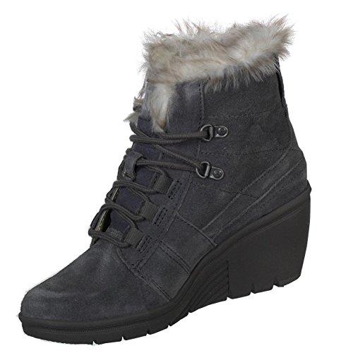 Caterpillar Cat Habor Womens Faux Fur Wedge Boots Dark Gull Grey 5 ()