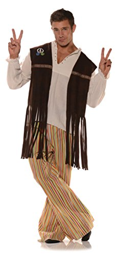 (Underwraps Adult Fringed Hippie Vest with Patches,)
