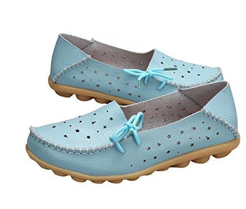 Vrouwen Loafer Schoenen, Vrouwen Loafers Leren Bovenste Rubberen Zool Casual Platte Schoenen Holle Sandalen Meer Blauw