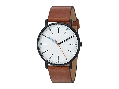 Skagen Men's Signatur Stainless Steel Quartz Watch with Leather Calfskin Strap, Brown, 20 (Model: SKW6374)