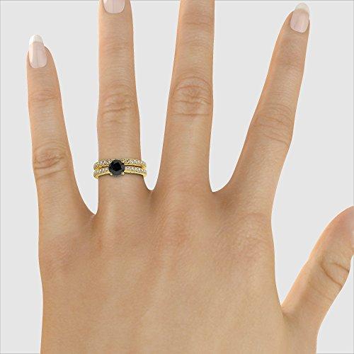 Or jaune 18carats 1CT G-H/VS sertie de diamants ronds Coupe Noir de mariage Bague de fiançailles et ensemble de Agdr-2031